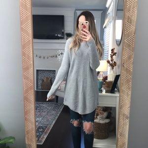 Caslon Zippered Gray Tunic Sweater